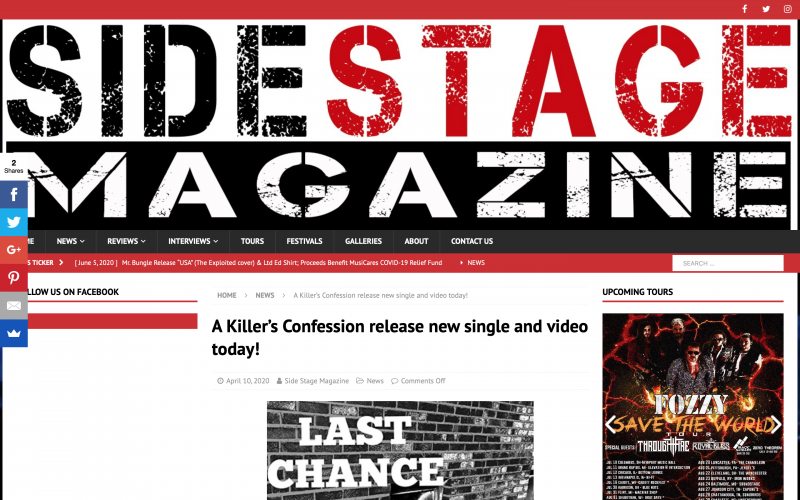 SideStageMagazine covers the drop of 'Last Chance'