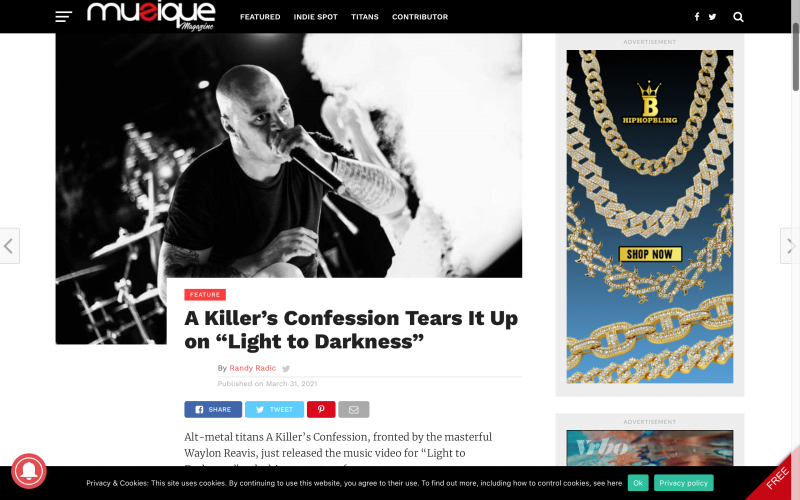"Musique Magazine – A Killer's Confession Tears It Up on ""Light to Darkness"""